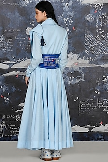 Ice Blue Embroidered Draped Angrakha With Belt by Jajaabor