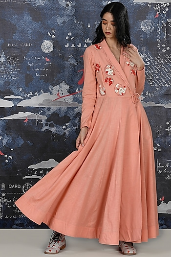 Blush Pink Embroidered Khadi Angrakha by Jajaabor