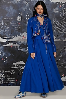 Cobalt Blue Embroidered Anarkali Set With Belt by Jajaabor