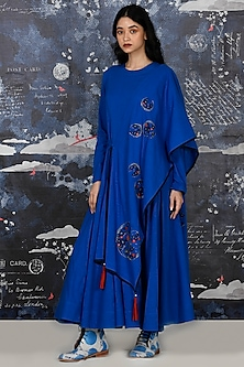 Cobalt Blue Embroidered Cape Kurta With Pants by Jajaabor
