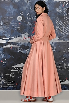 Blush Pink Embroidered Anarkali Set With Belt by Jajaabor