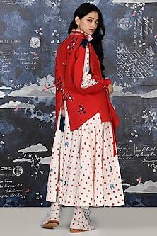 Red Embroidered Khadi Jacket by Jajaabor