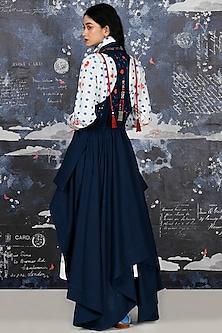 Indigo Blue Embroidered Draped Jacket by Jajaabor