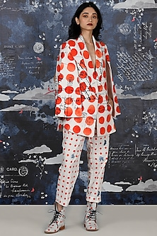 Red Bindi Printed Play Suit by Jajaabor