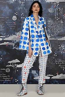 Cobalt Blue Bindi Printed Play Suit by Jajaabor