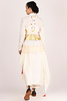 White Zardosi Embroidered Gilet Jacket by Jajaabor