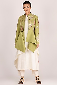 Mehendi Green Embroidered Jacket by Jajaabor