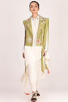 Mehendi Green Embroidered Biker Jacket by Jajaabor