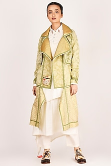Mehendi Green Embroidered Trench Coat by Jajaabor