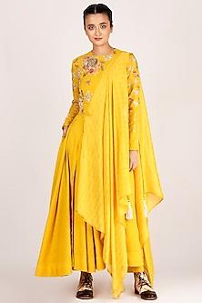 Mustard Draped & Embroidered Kurta With Pants by Jajaabor