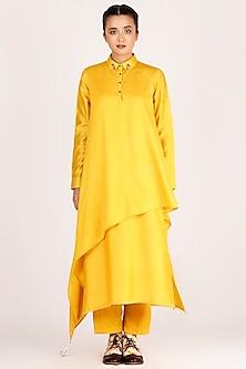 Mustard Double Draped & Embroidered Kurta Shirt With Pants by Jajaabor