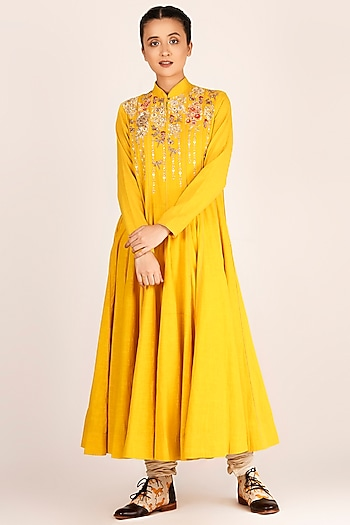 Mustard Floral Embroidered Kalidar With Pants by Jajaabor
