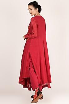 Fuchsia Asymmetrical Embroidered Kurta With Pants by Jajaabor