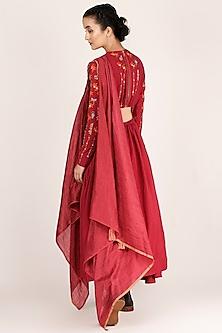 Fuchsia Draped & Embroidered Kurta With Pants by Jajaabor