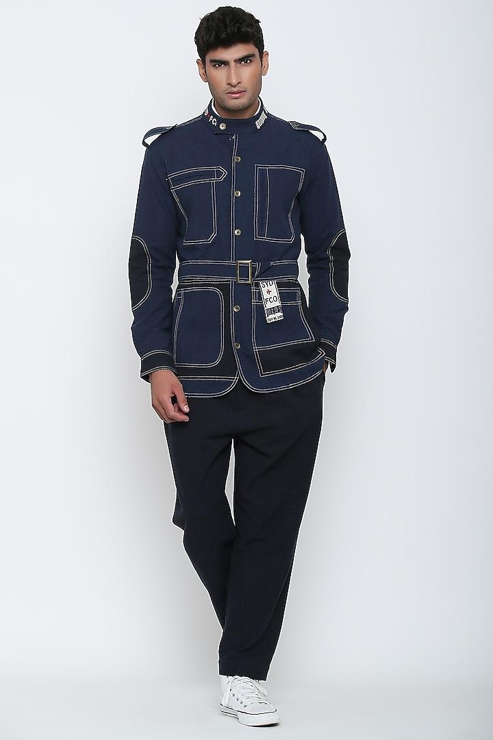 Indigo Blue Textured Shirt & Pants by Jajaabor Men