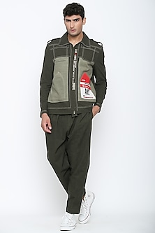 Military Olive Green Travellers Jacket by Jajaabor Men