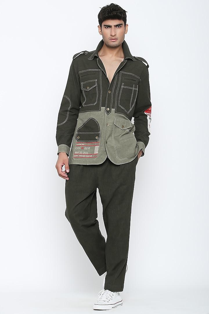 Military Olive Green Luggage Tag Shirt & Pants by Jajaabor Men