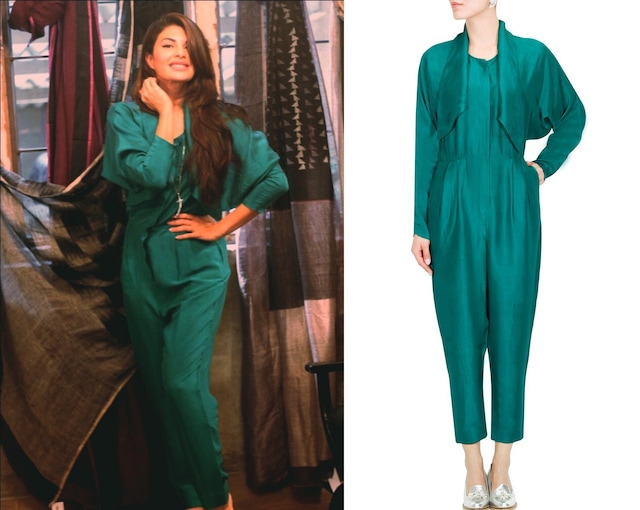 Emerald green dupion silk jumpsuit by Bungalow 8