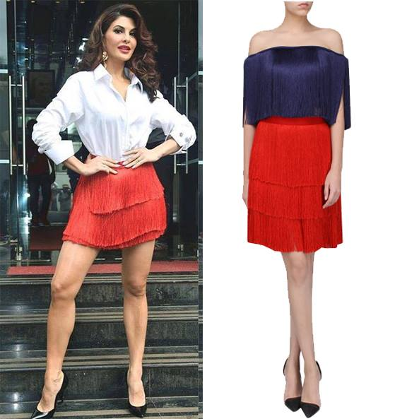 Red Layered Fringe Skirt by 431-88 By Shweta Kapur