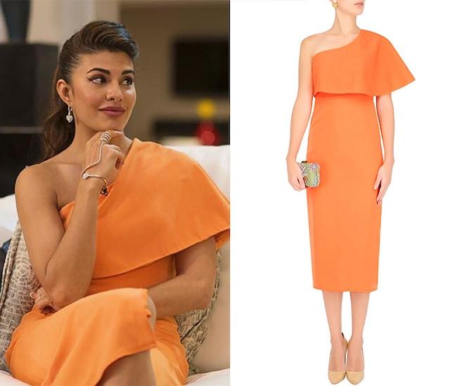 Orange One Shoulder Cape Dress by Rutu Neeva