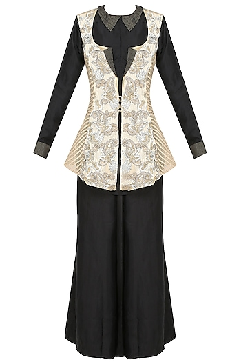 Beige Floral Embroidered Jacket With Black Shirt And Palazzo Pants by Jade by Monica and Karishma