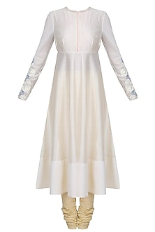 Ivory Floral Embroidered Anarkali Set by Jade by Monica and Karishma