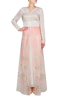 Shell Pink Resham Embroidered And Sequinned Jacket by Jade by Monica and Karishma