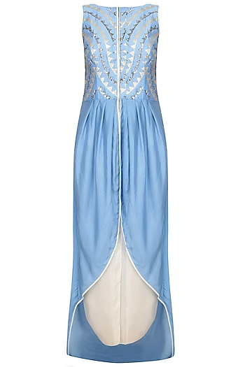 Blue Embroidered Asymmetric Kurta With Ivory Dhoti Pants by Jade by Monica and Karishma