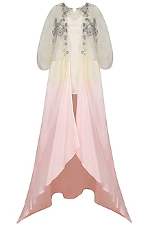 Shell Pink And Ivory Ombre Shaded Asymmetric Jacket by Jade by Monica and Karishma