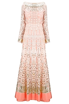 Shell pink tone-on-tone embroidered anarkali with matching dupatta by Jade by Monica and Karishma