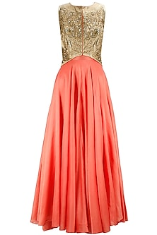 Deep coral gown with gold embellished jacket by Jade by Monica and Karishma