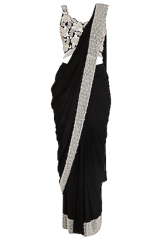 Black Embroidered Palazzo Saree Set by J by Jannat