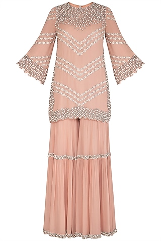 Peach Embroidered Sharara Set by J by Jannat
