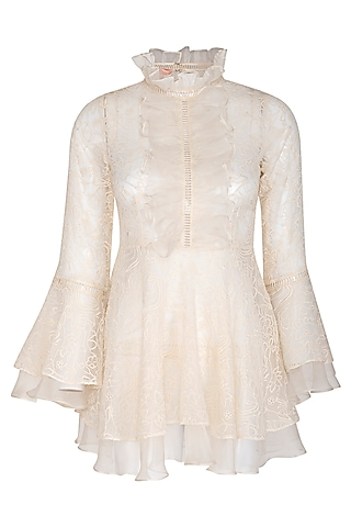 Ivory Embroidered Peplum Top With Inner by J by Jannat