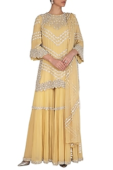 Lemon Yellow Embroidered Sharara Set by J by Jannat