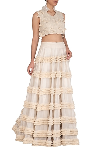 Ivory Embroidered Blouse With Lehenga Skirt by J by Jannat