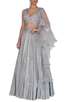 Grey Embroidered Lehenga Set by J by Jannat
