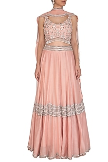 Peach Embroidered Lehenga Set by J by Jannat