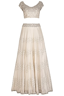 Ivory Pearl Embroidered Lehenga Set by J by Jannat