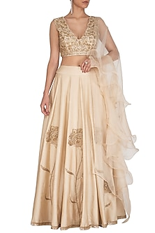 Golden Embroidered Lehenga Set by J by Jannat