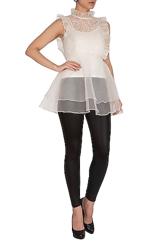 Ivory Ruffled & Embroidered Peplum Top by J by Jannat