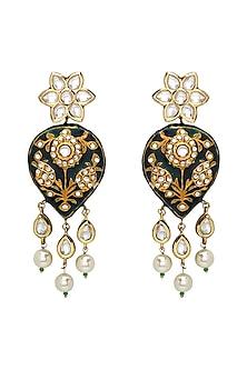 Gold Plated Meenakari Polki Earrings by Joules By Radhika