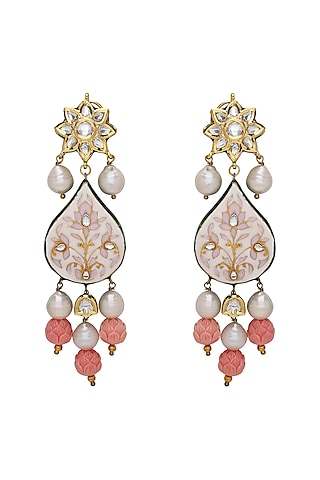 Gold Plated Meenakari Pearl Earrings by Joules By Radhika