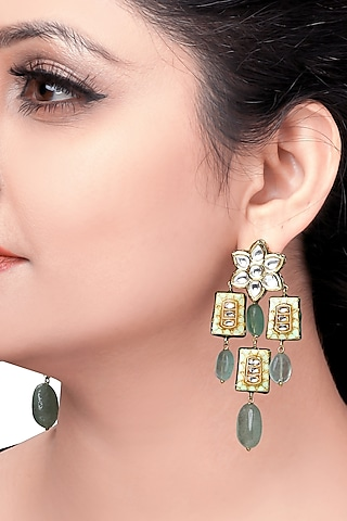 Gold Plated Meenakari Earrings by Joules By Radhika