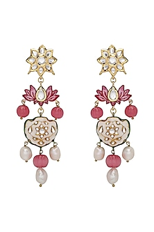 Gold Plated Lotus Enamelled Earrings by Joules By Radhika