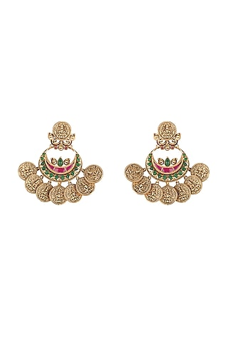 Gold Plated Ruby Fan Earrings by Joules By Radhika