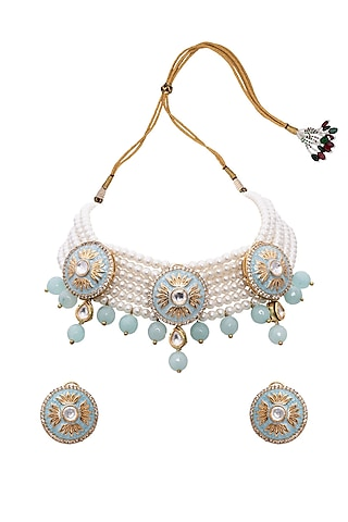 Gold Finish Meenakari Blue Agate Necklace Set by Joules By Radhika