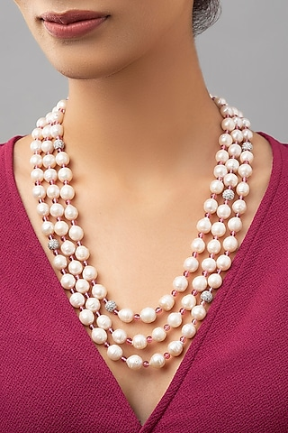 White Finish Swarovskis Necklace by Joules By Radhika