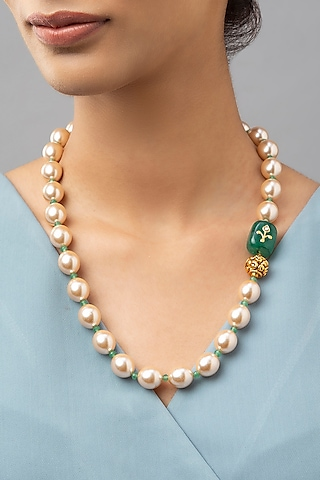 Gold Finish Onyx Necklace by Joules By Radhika