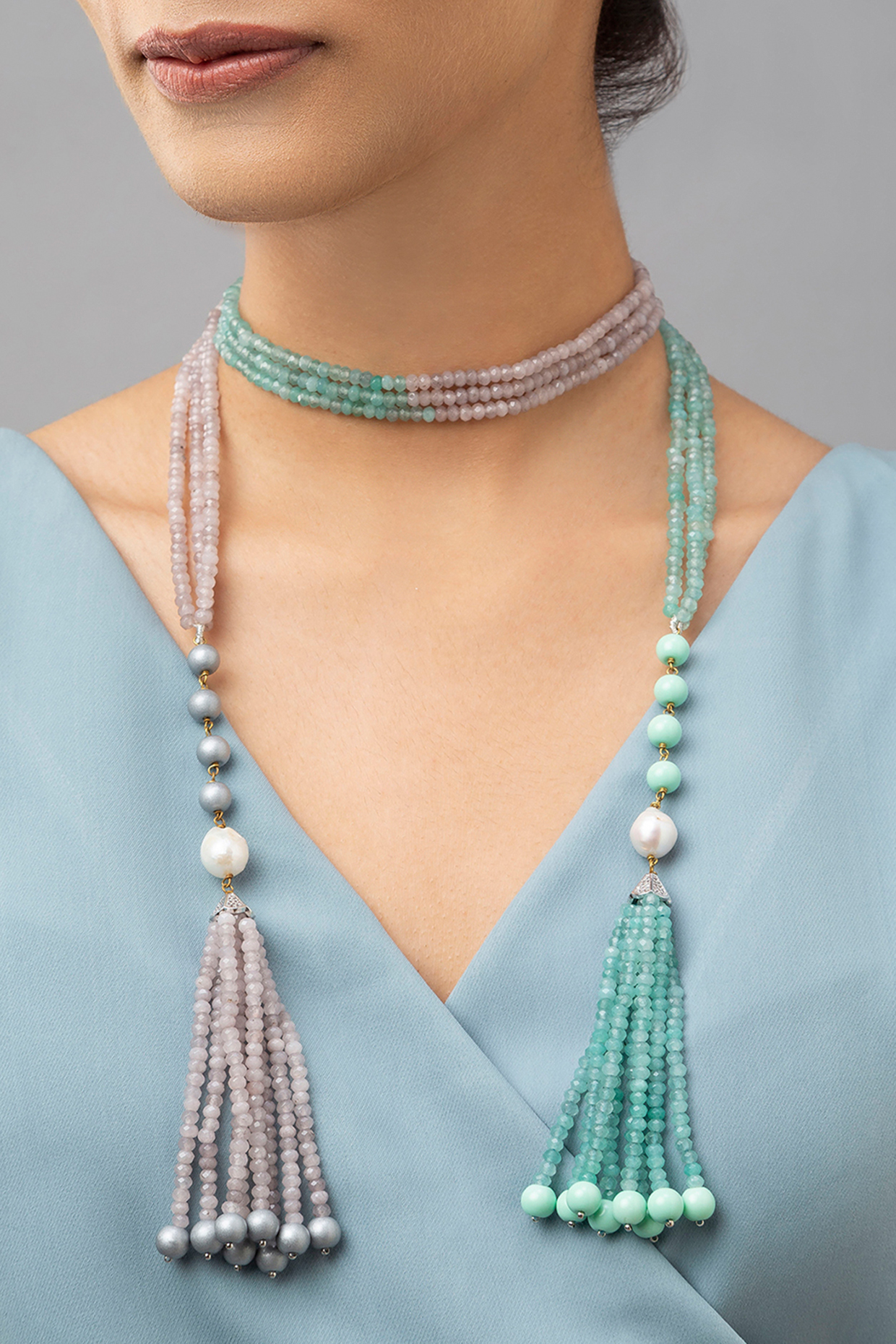 Gold Finish Baroque Pearls & Agate Beads Necklace by Joules By Radhika